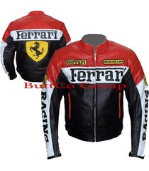 ferrari 0122 red/black genuine leather motorcycle motorbike biker jacket