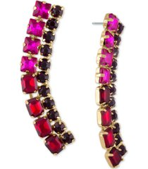 rachel rachel roy gold-tone crystal curved drop earrings