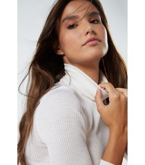 blusa manga comprida em lã e seda gola alta intimissimi lã e seda off-white