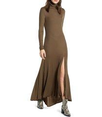 women's ag chels front slit long sleeve maxi dress, size medium - green