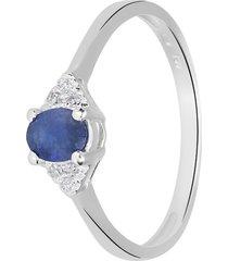 anello in oro bianco, zaffiro 0,47 ct e diamanti 0,03 ct per donna