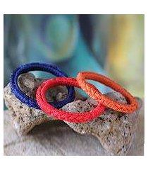 bangle bracelets, 'akan enigma' (set of 3) (ghana)