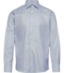 blue zig-zag structured shirt overhemd business blauw eton