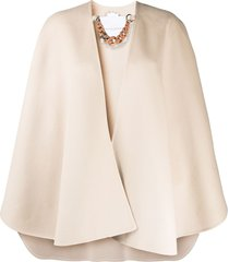 ermanno scervino oversized cape jacket - neutrals