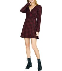 women's sancturay upbeat plaid long sleeve wrap dress