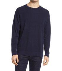 men's closed linen & cotton men's sweater, size small r - blue