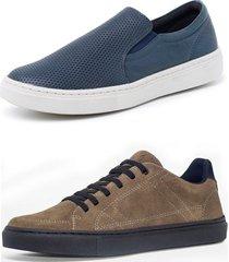 kit 2 sapatenis sandalo soft marinho basic kaki