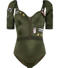 marlies dekkers aviator multi-patch bodysuit - green