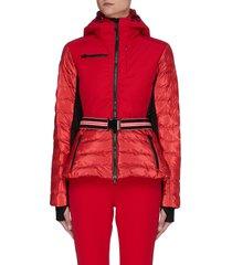 'kat' belted metallic contrast panel hooded puffer ski jacket