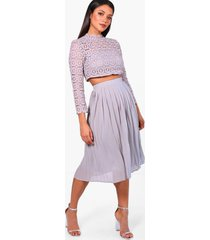 boutique lace top and midi skirt set, grey