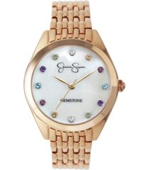 jessica simpson women's genuine gemstone rose gold tone bracelet watch 37mm