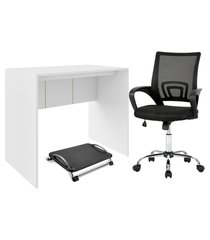 combo home office - mesa para computador 90cm, cadeira de escritório executive e descanso de pés ergonômico reclinável multilaser - ei074k ei074k