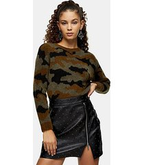 camouflage print knitted sweater - multi