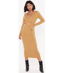 womens get used to knit high-waisted midi skirt - camel