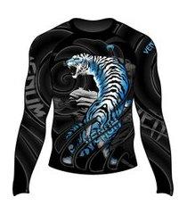rash guard venum alpine tiger preto e azul .