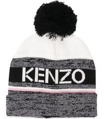 kenzo kids gorro listrado com pompom - preto