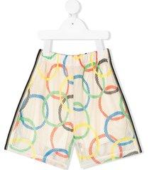 noé & zoë olympic rings print casual shorts - neutrals