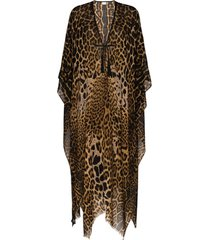 saint laurent poncho de lã com estampa de leopardo - marrom