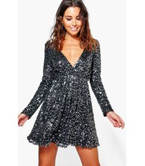 boutique skater wikkel jurk met pailletten, zwart