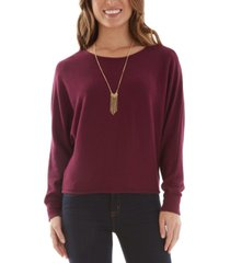 bcx juniors' brushed sweater with necklace