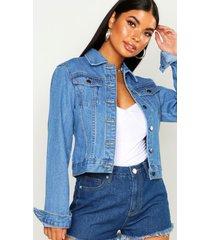 petite western jean jacket, mid blue
