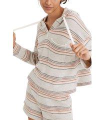 women's madewell mwl beach stripe long sleeve cotton hoodie, size xx-large - grey