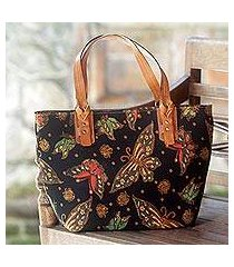 cotton and leather accent batik tote handbag, 'midnight monarchs' (indonesia)