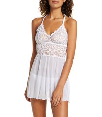 women's black bow renee racerback chemise and g-string panties, size small - white