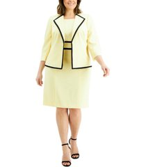 le suit plus size contrast-trim dress suit