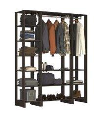 guarda roupa closet 3 peças 2 cabideiros e 12 nichos yes nova mobile preto