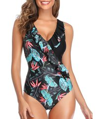 tropical print ruffle criss cross plunging one-piece swimsuit