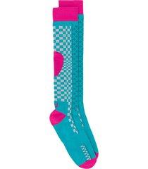 asics patterned knee-high socks - blue