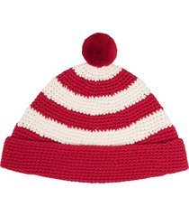 ami paris horizontal-stripe pompom beanie - white