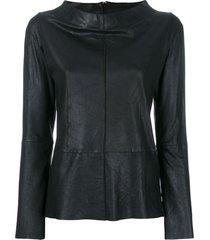 vanderwilt boat neck longsleeved blouse - black