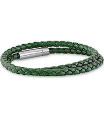 esquire men's jewelry men's leather & stainless steel double wrap bracelet
