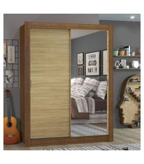 guarda-roupa solteiro madesa dallas 2 portas de correr com espelho 2 gavetas - rustic/carvalho marrom