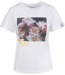 ania white woman t-shirt dream maker collection with adhesive tape effect print