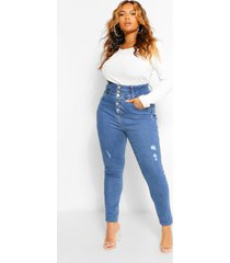 plusmaat shaping stretch skinny jeans met hoge taille, middenblauw
