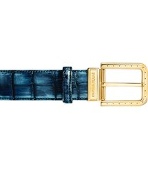 pakerson designer men's belts, ripa blue bay alligator leather belt w/ gold buckle