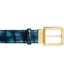 pakerson designer men's belts, ripa blue bay alligator leather belt w/ gold buckle