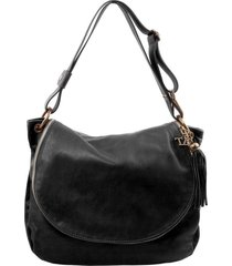 tuscany leather tl141110 tl bag - borsa morbida a tracolla con nappa nero