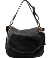 tuscany leather tl141110 tl bag - borsa morbida a tracolla con nappa nero