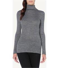 blusa manga comprida em lã e seda gola alta intimissimi lã e seda cinza