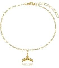 tornozeleira cauda de sereia di capri semi jóias x ouro dourado
