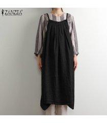 zanzea verano de las mujeres tamaño mangas de la correa del delantal dungaree vestido overallls plus (no incluye la camisa) -negro