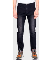 jeans ellus rock 71 largo techno negro - calce ajustado