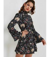 negro estampado floral al azar alto cuello mangas largas mini vestido