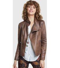 chaqueta desigual marrón - calce ajustado