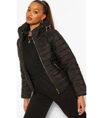 getailleerde gewatteerde jas met stiksels, zwart