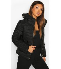fitted quilted jacket, black